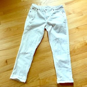 White Cropped Stretch Denim Jeans